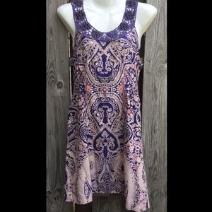 Free People 4 Babydoll Dress Crochet Bead Crochet